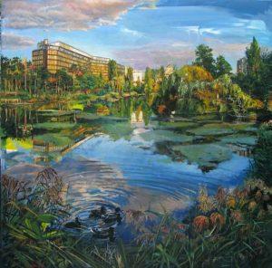 peinture de lac dans ville